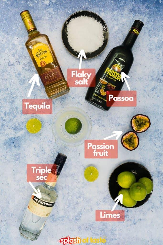 Ingredients to make a passion fruit margarita