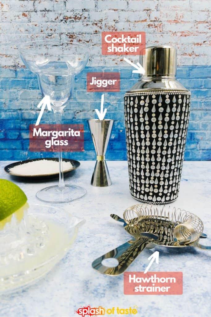 Equipment needed to make passion fruit margaritas