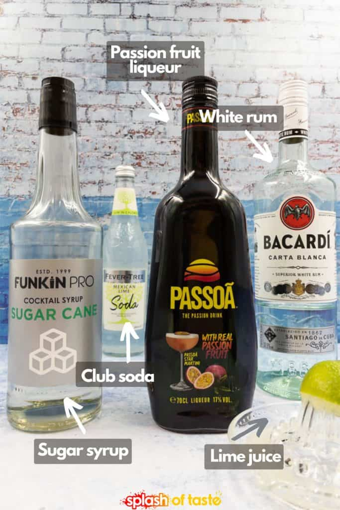 Ingredients for passion fruit mojito recipe, sugar syrup, club soda water, passion fruit liqueur, white rum and fresh lime juice