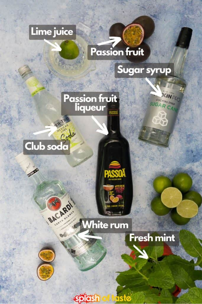 Ingredients for passion fruit mojito recipe, passion fruit liqueur, mint leaves, white rum, club soda, fresh lime juice, passion fruit and sugar syrup
