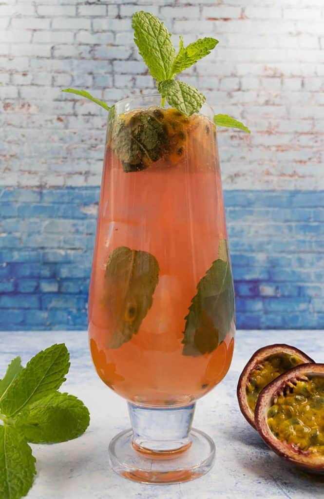 Delicious refreshing homemade passion fruit mojito