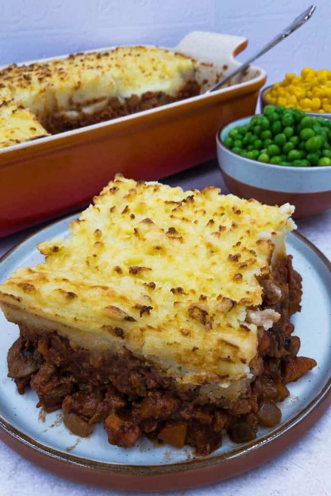 Tasty Quorn cottage pie, peas and sweetcorn