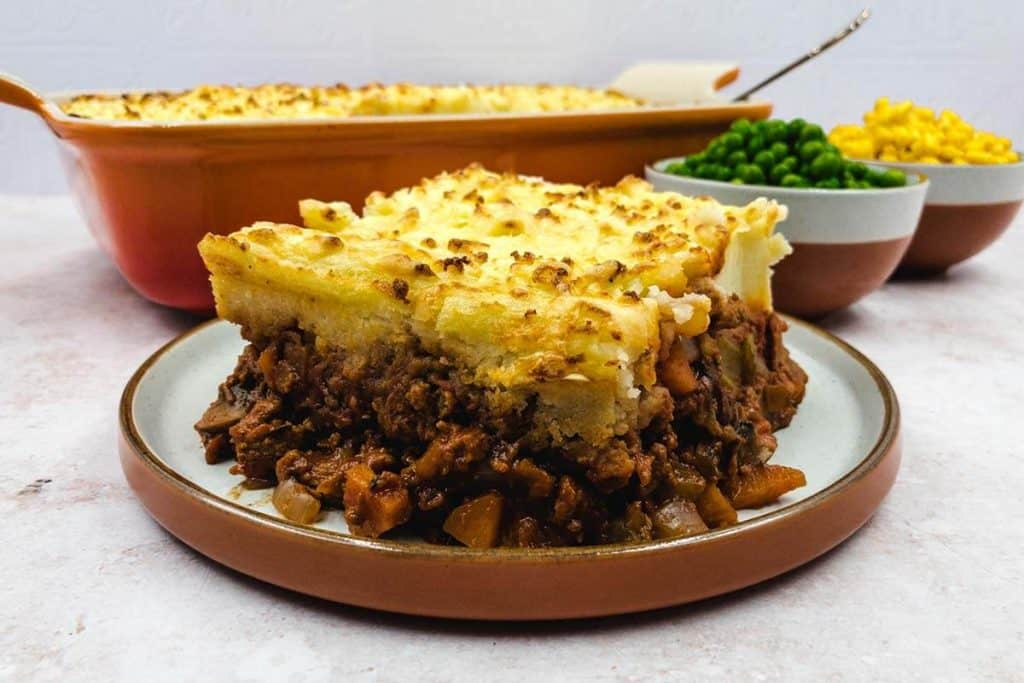 Vegetarian cottage pie straight out of the oven