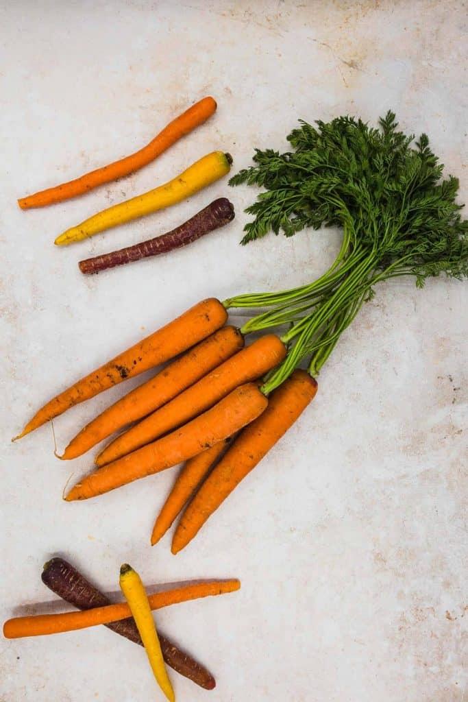 Fresh carrots and rainbow carrots