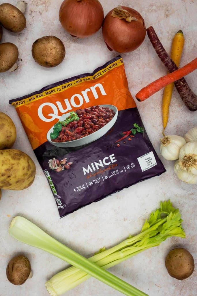Quorn mince ready for Quorn cottage pie