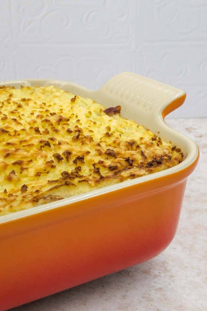 Delicious Quorn cottage pie in an ovenproof dish
