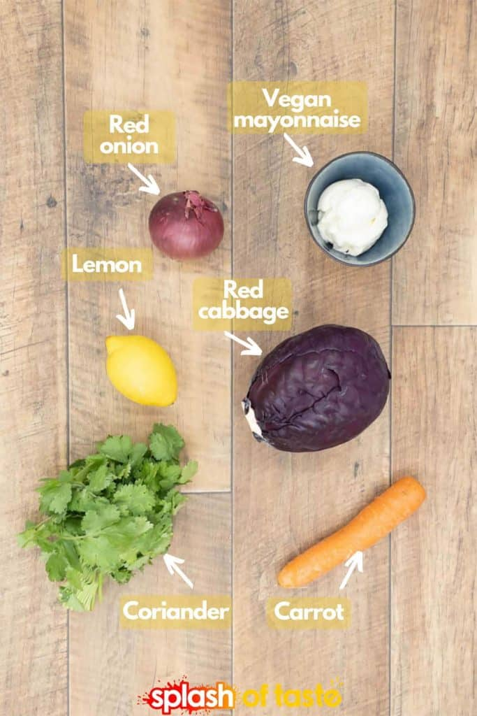Ingredients for homemade red cabbage slaw recipe with red onion, vegan mayo, red cabbage, lemon, cilantro and carrot