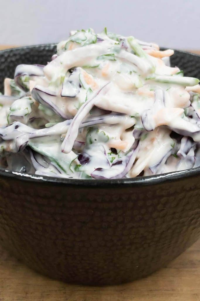 Red cabbage slaw, homemade, fresh and crunchy