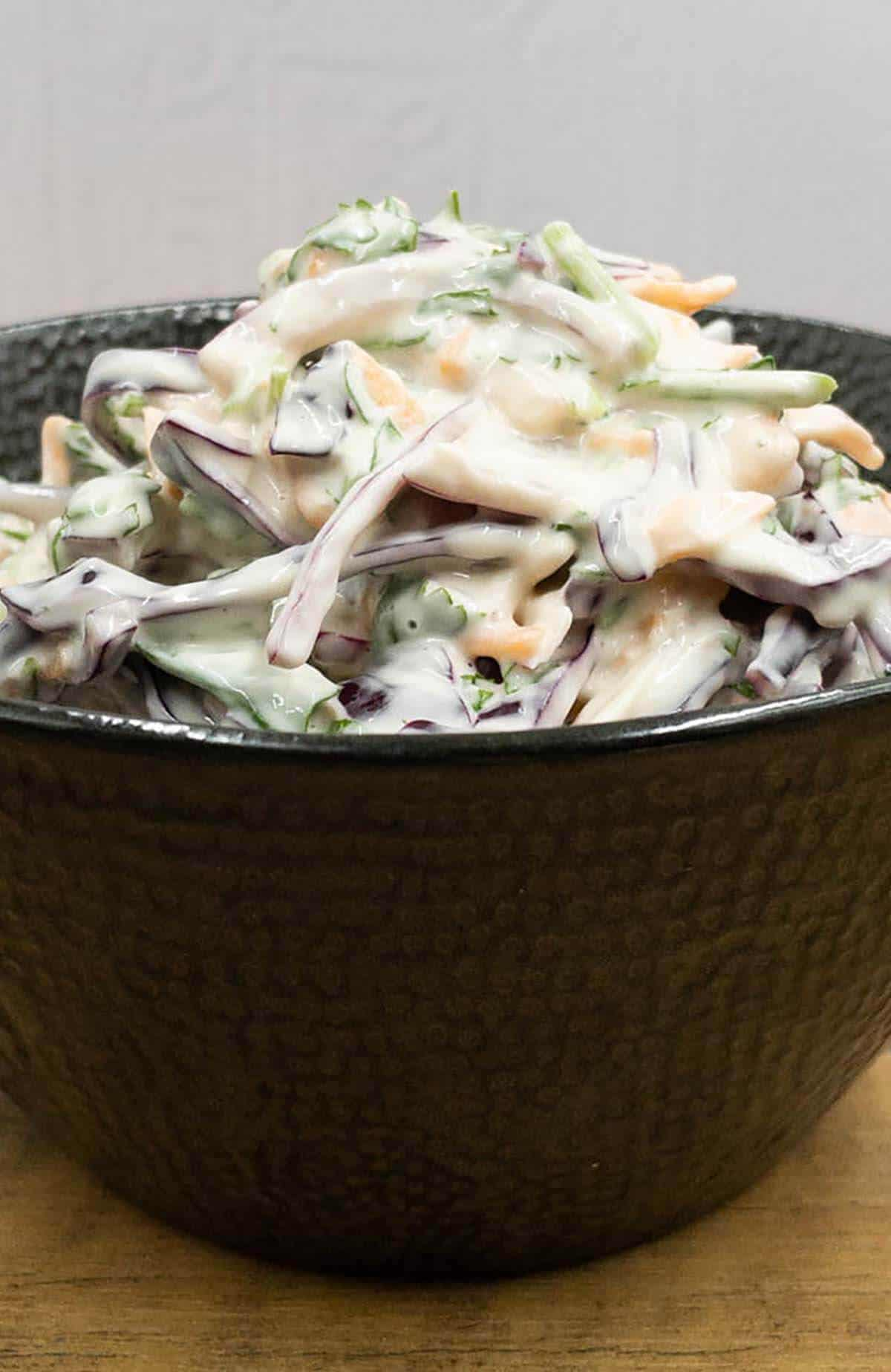 Bowl of homemade red cabbage slaw