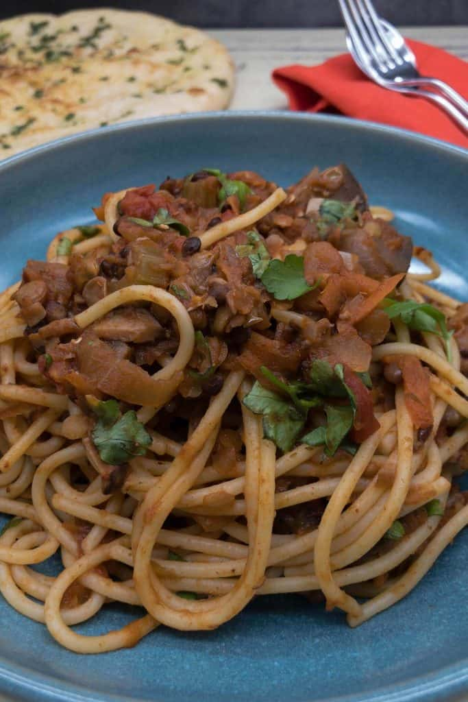 Delicious meatless vegetarian spaghetti bolognese made with