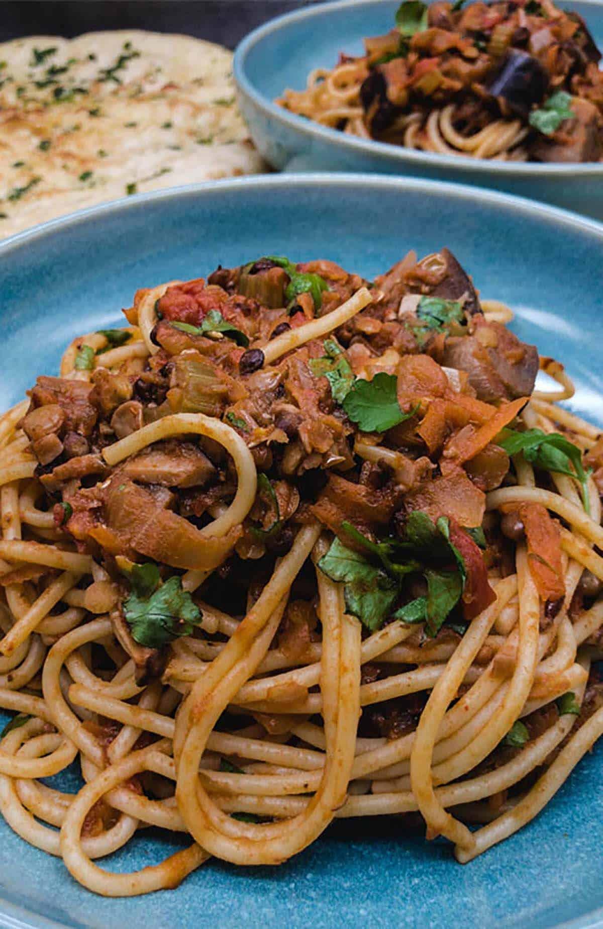 Delicious vegan spaghetti bolognese ready to eat