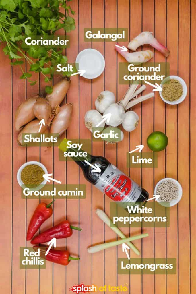 Ingredients for Thai red curry paste including coriander, salt, galangal, ground coriander, garlic, shallots, soy sauce, lime, ground cumin, white peppercorns, lemongrass and red chillis