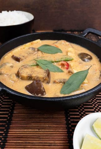 Yummy vegan Thai red curry freshly cooked and ready to eat