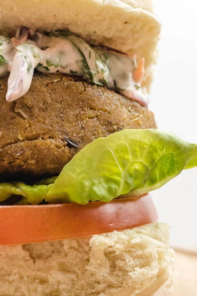 Close up of plant based chickpea burger with red cabbage slaw, lettuce and tomato