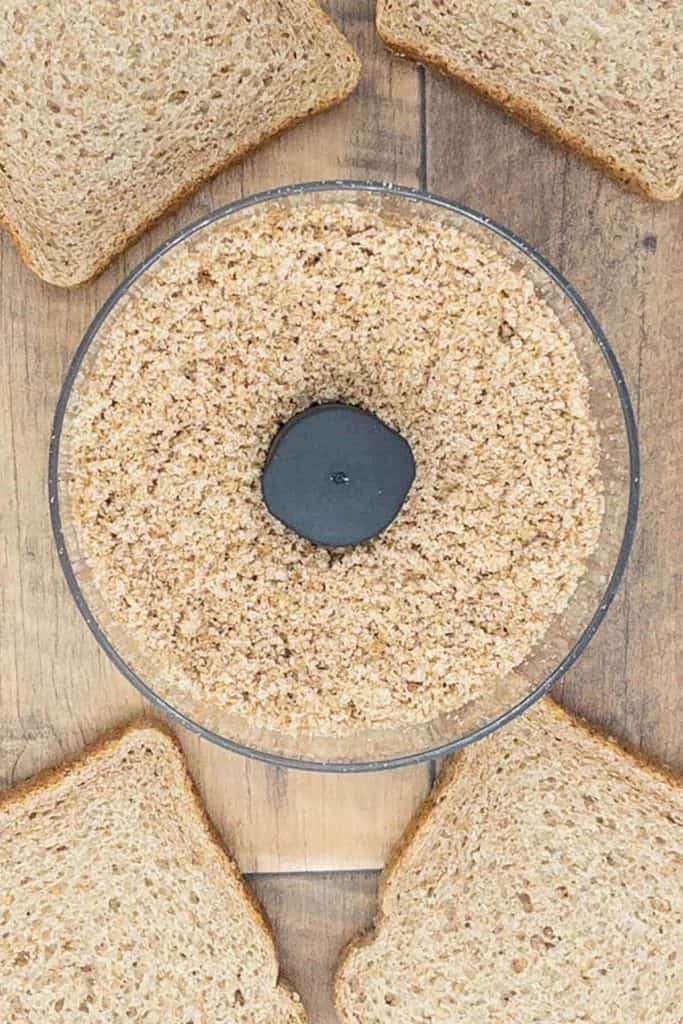 Wholemeal bread slices and breadcrumbs ready to make chickpea patties
