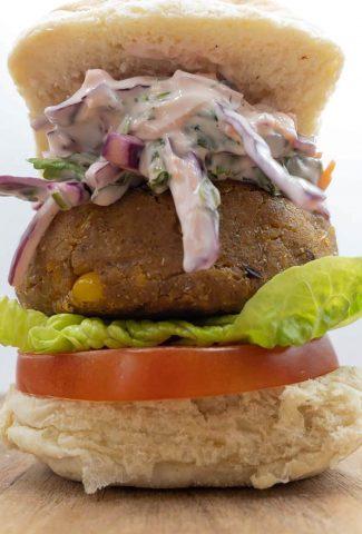 Vegan chickpea burger ready to eat