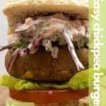 Vegan chickpea burger image for pinterest