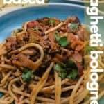 Vegan spaghetti bolognese pin for pinterest