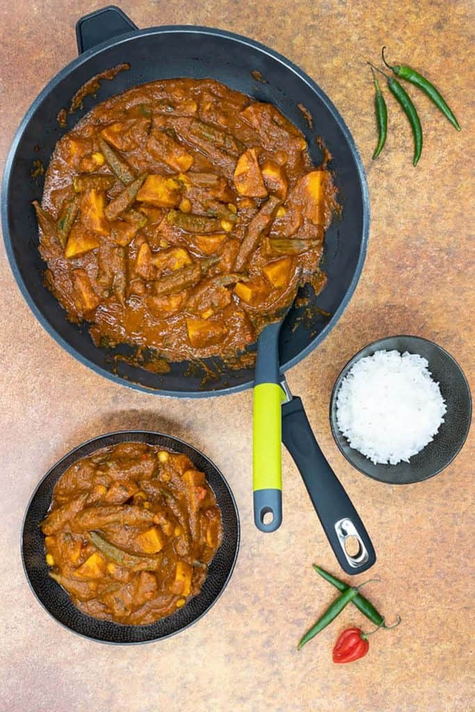 Vegetarian vindaloo straight out of the pan, with basmati rice and chilli's