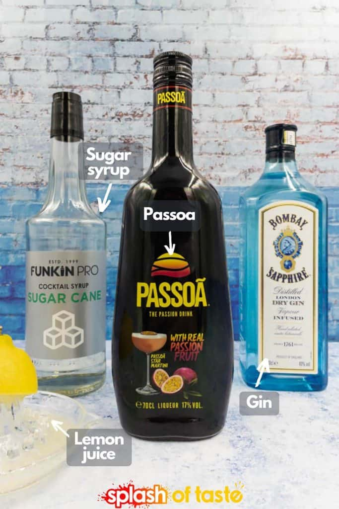 Passoa, sugar syrup and gin bottles with simple lemon juice