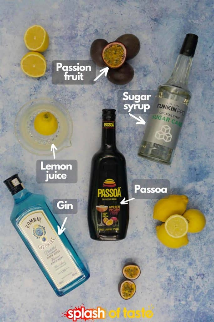 Ingredients for a passoa cocktail, passoa, gin, lemon juice, sugar syrup and passion fruit
