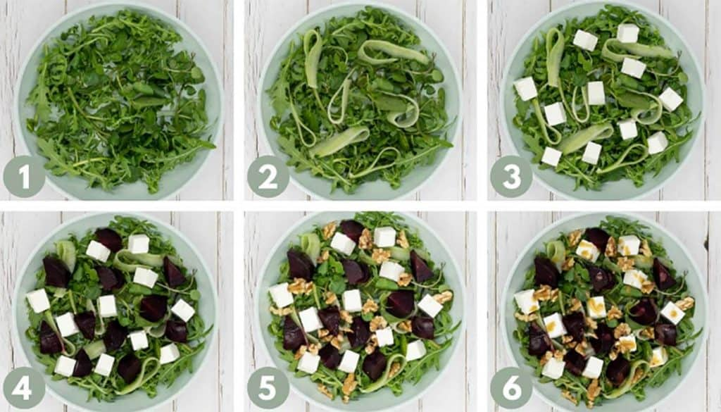 Salads from process photos for beetroot and feta salad, including ingredients green rocket, watercress, cucumber, feta cheese, roasted beets, walnuts and delicious balsamic dressing