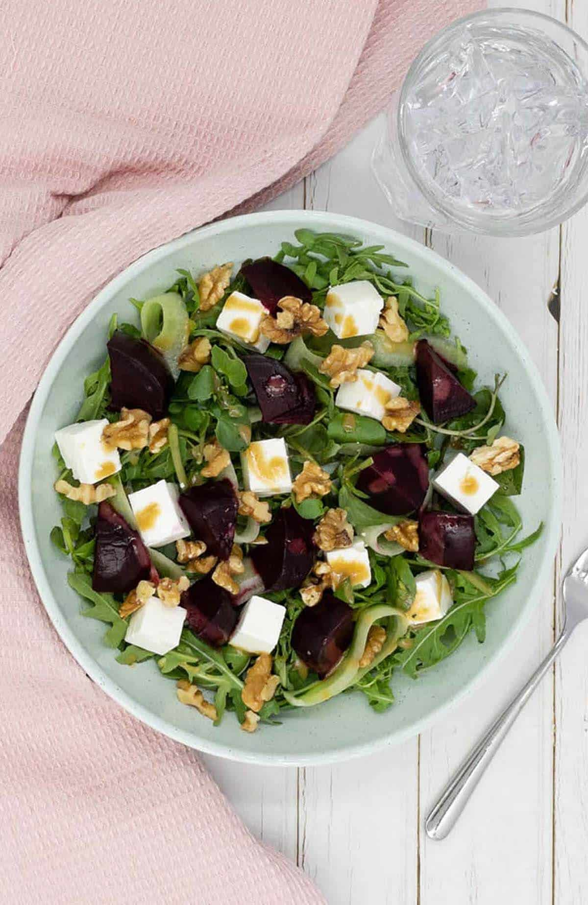 Homemade beetroot salad with feta