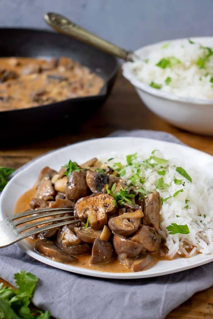 Delicious mushroom stroganoff with rice.