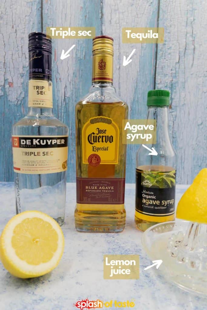 Ingredients for lemon margaritas, triple sec, tequila, agave syrup and lemon juice