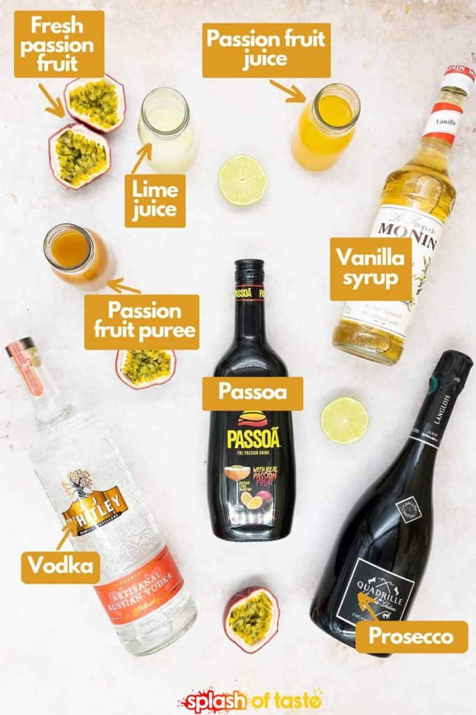 Ingredients for a pornstar martini, vodka passoa and vanilla syrup with passion fruits