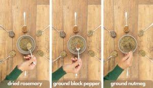 Process shot for homemade poultry seasoning rosemary, black pepper and ground nutmeg.