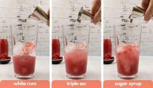 Process shots to make raspberry daiquiri, add white rum, triple sec and sugar syrup.