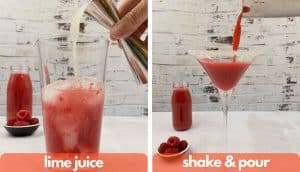 Process method shots for making raspberry daiquiri drink, add lime juice, shake and pour.