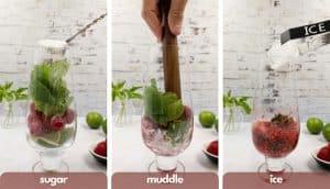 Process shot to make a raspberry mojito, add sugar, muddle and add ice.