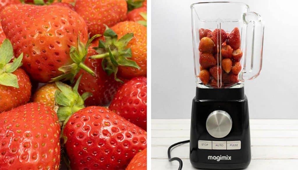 Fresh sweet strawberries in a food processor.