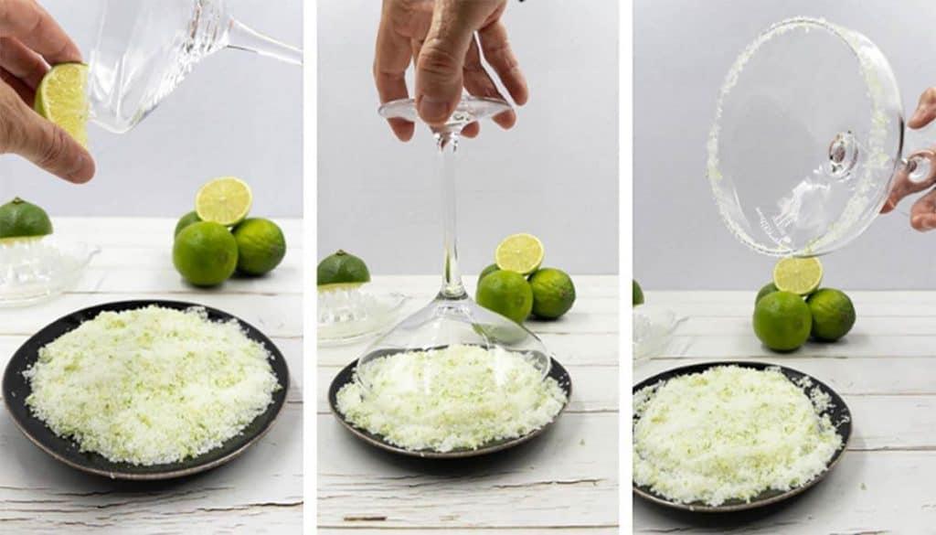 Making a lime sugar rim for strawberry daiquiris.