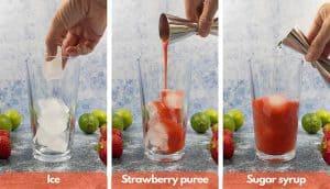 Process shots for building a strawberry daiquiri mocktail, add ice, add strawberry puree, add sugar syrup.