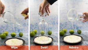 Process shots for making a lime sugar rim for a virgin strawberry daiquiri.