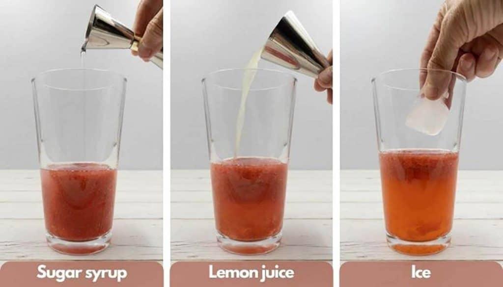 Building strawberry martinis, add sugar syrup, add lemon juice and add ice.