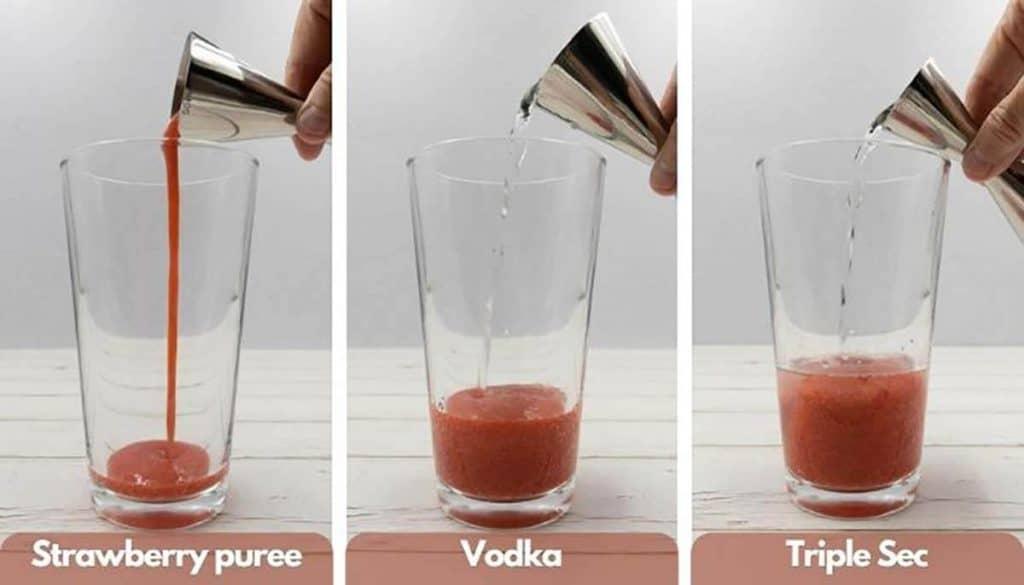 Building strawberry martinis add strawberry puree, then add vodka, then add triple sec.