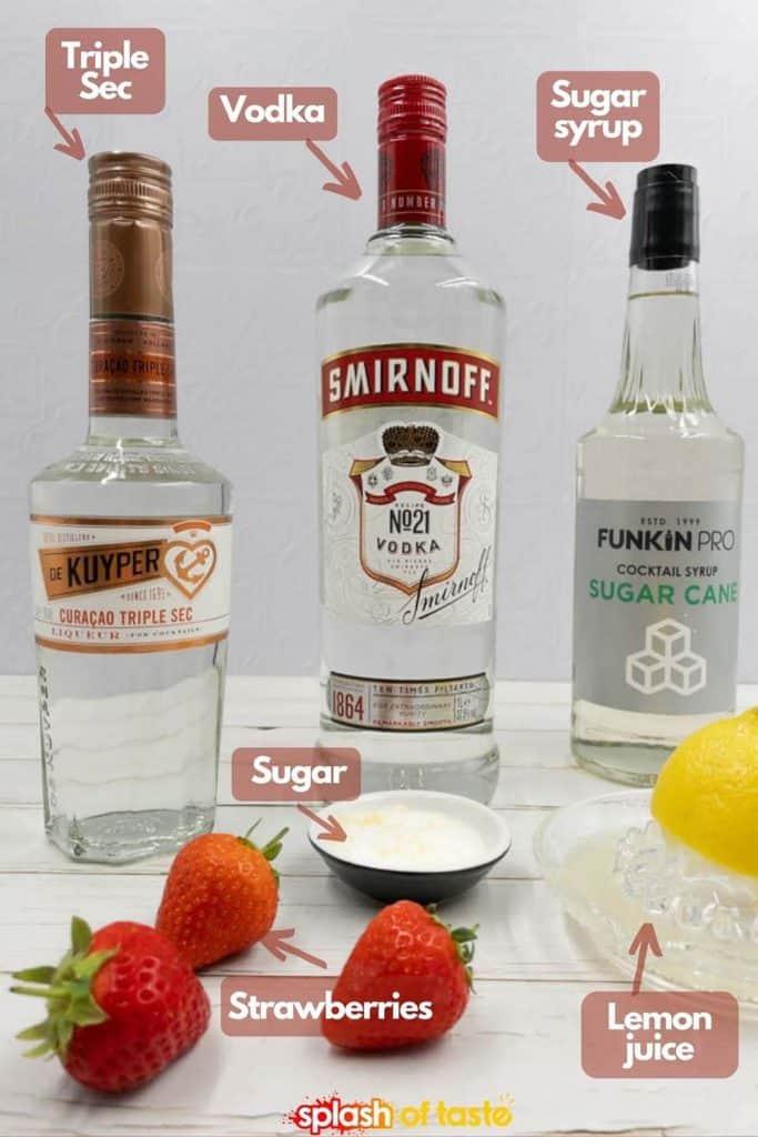 Triple sec, vodka, sugar syrup, lemon sugar, fresh lemon juice and strawberries.