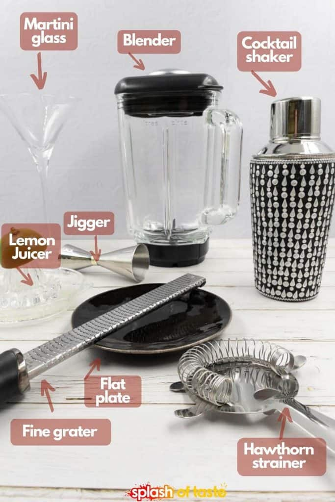 Equipment needed for making a martini, strawberry flavor