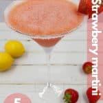 Fresh strawberry martini image for pinterest