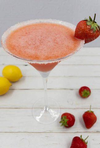 Homemade fresh strawberry martini