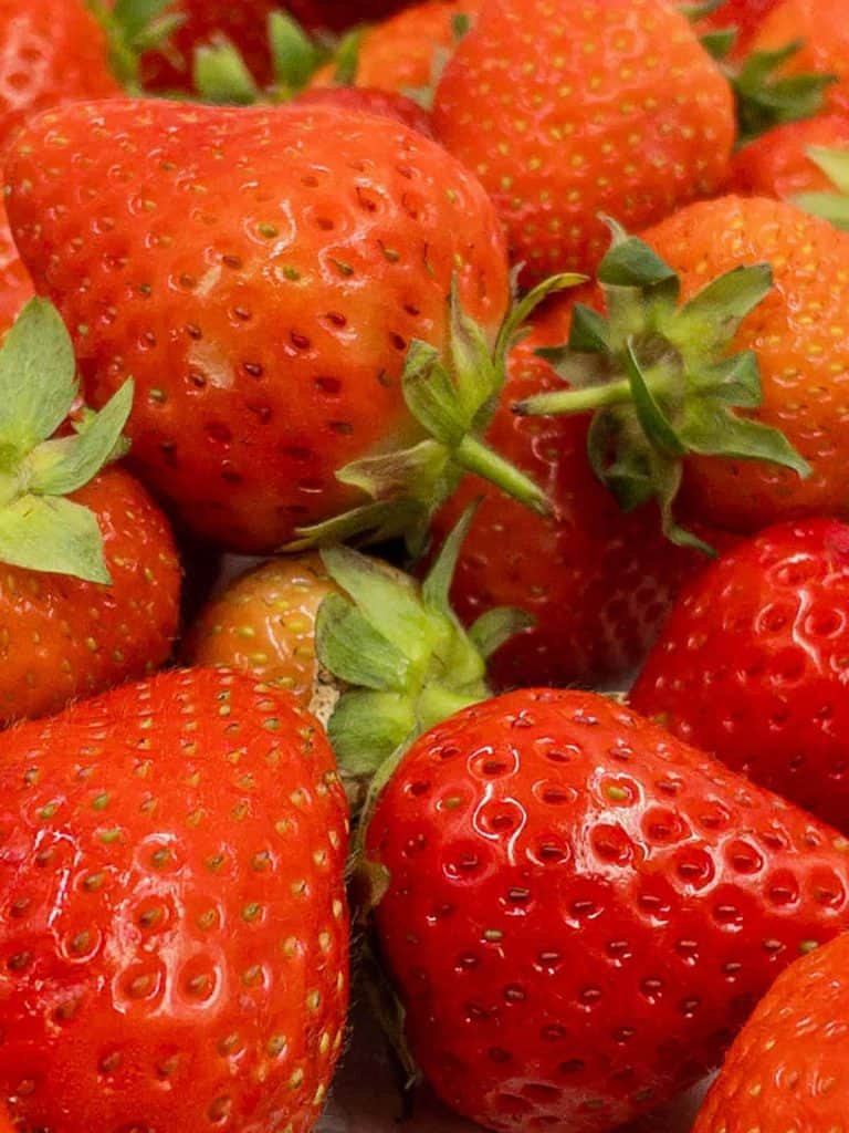 Close up of ripe red strawberries.