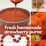 Homemade strawberry puree pinterest image.