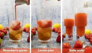 Add strawberry puree, fresh lemon juice and soda water process shots for strawberry lemonade vodka cocktails.
