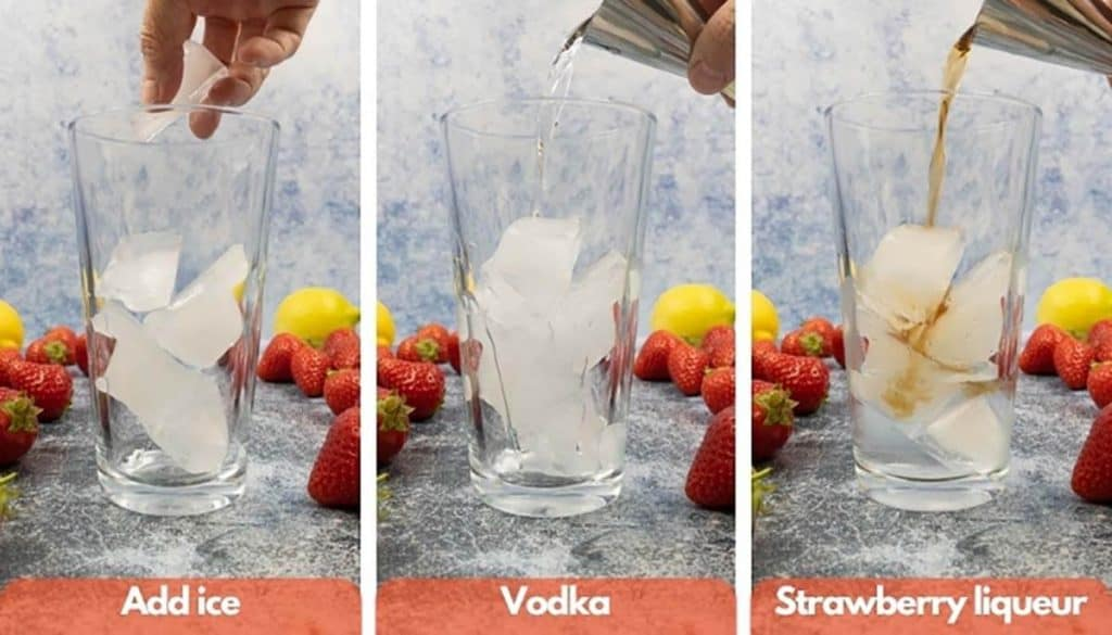 Add ice, vodka and strawberry liqueur being poured into a shaker.