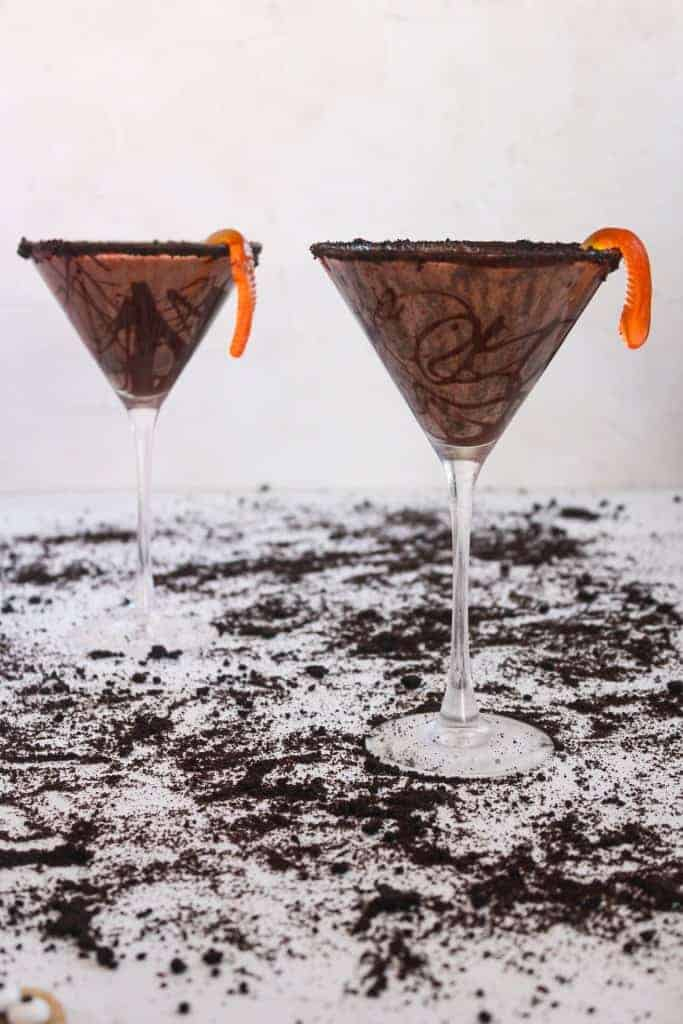 Two amazing coffee liqueur graveyard martini cocktails in martini glasses