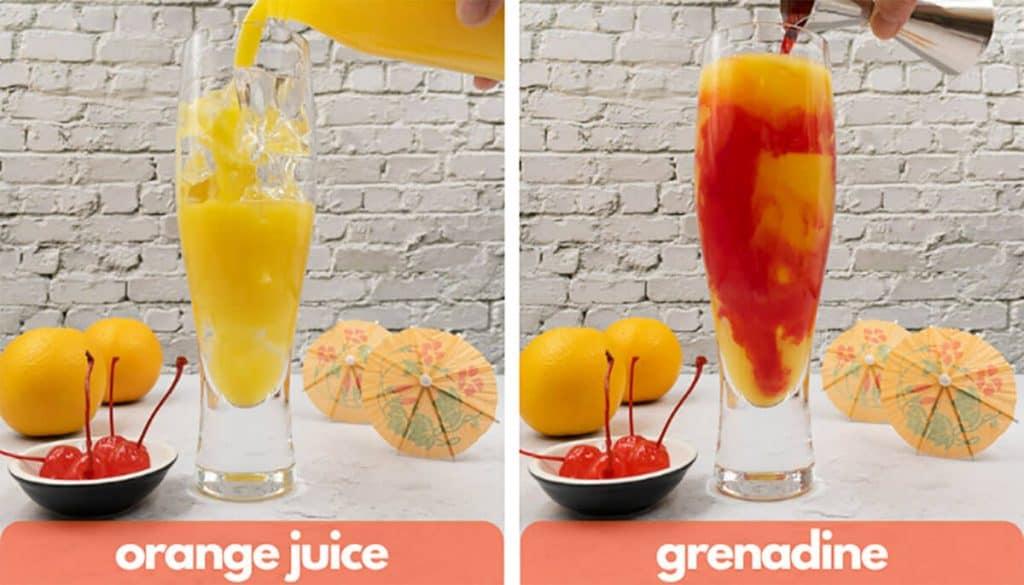 Process shots, add orange juice and add grenadine.